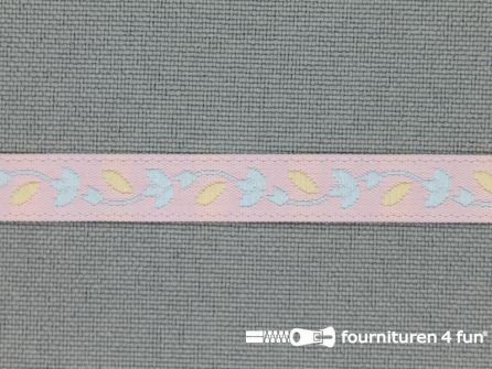 Kinderband 7mm pastel roze - blauw