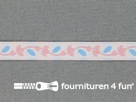 Kinderband 7mm licht roze - blauw