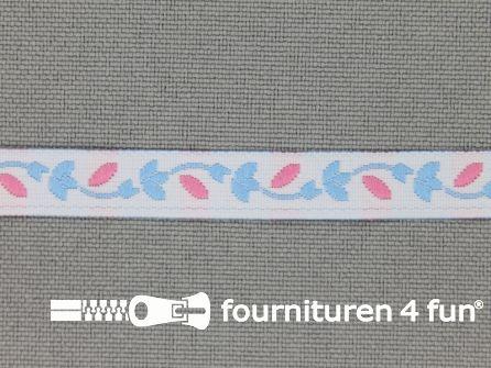 Kinderband 7mm licht blauw - roze