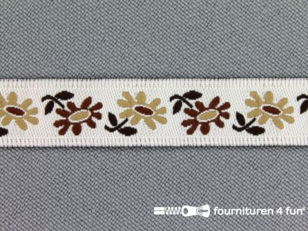 Folklore band 12mm wit - beige