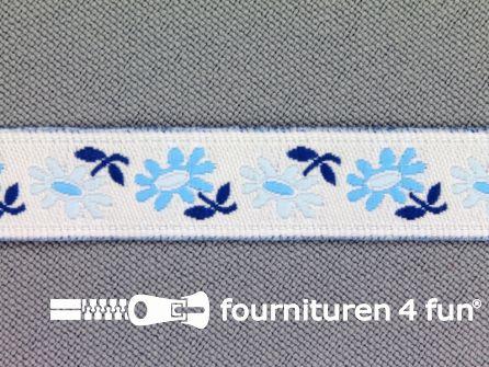 Folklore band 12mm wit - aqua blauw