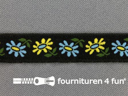 Folklore band 12mm zwart - geel
