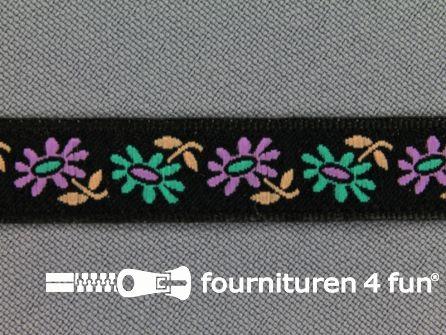 Folklore band 12mm zwart - lila