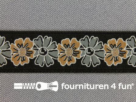 Folklore band 16mm beige - grijs
