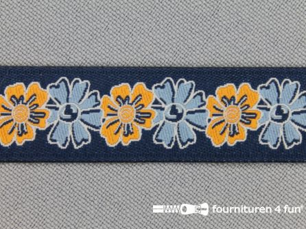 Folklore band 16mm oranje - blauw