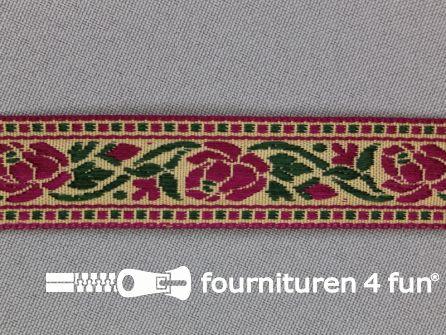 Folklore band 20mm fuchsia roze - groen