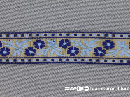 Folklore band 20mm kobalt - licht blauw