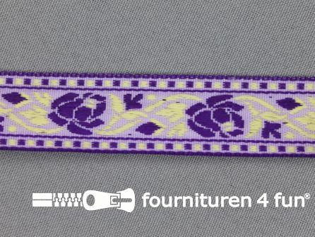 Folklore band 20mm paars - licht geel