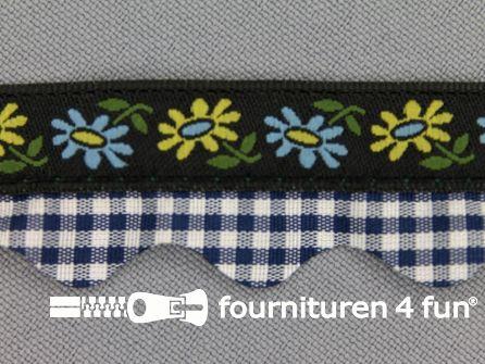 Folklore band 20mm zwart - blauw