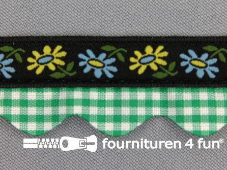 Folklore band 20mm zwart - groen