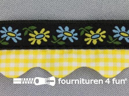 Folklore band 20mm zwart - geel