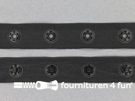 Rol 25 meter drukknopen band 15mm zwart