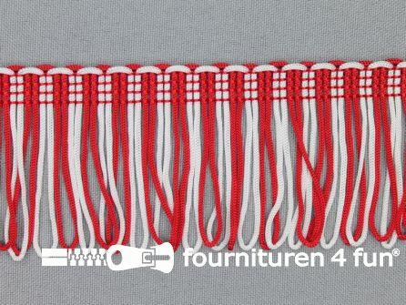Charleston franje 45mm rood - wit