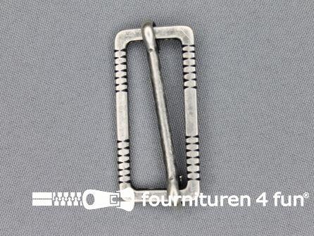 Schuifgesp 45mm zilver - reliefrand