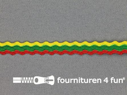 Zigzag band 9mm rood - geel - groen