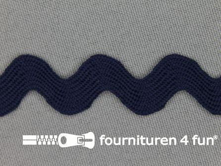 Zigzag band 15mm marine blauw