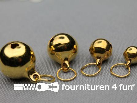 Belletjes 11mm ringetje goud 10 stuks