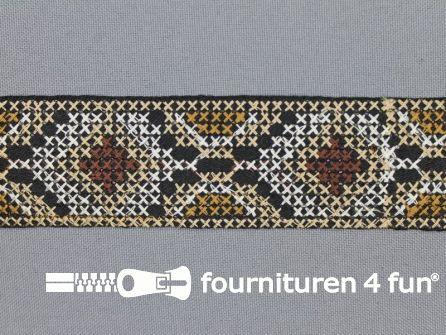 COUPON 60cm Jacquard band 35mm beige - bruin