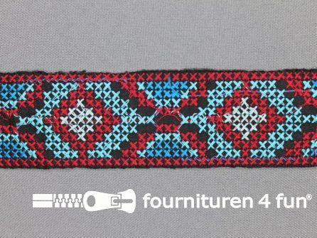 Jacquard band 35mm rood - blauw coupon 3.7 meter
