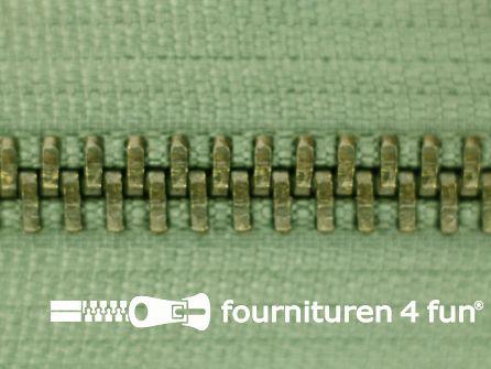 Niet deelbare bronzen rits 5mm leger groen 16CM