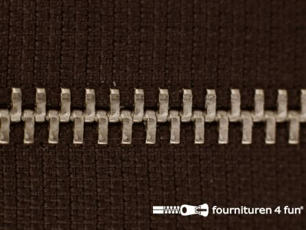 Niet deelbare broek rits metaal 4mm donker bruin