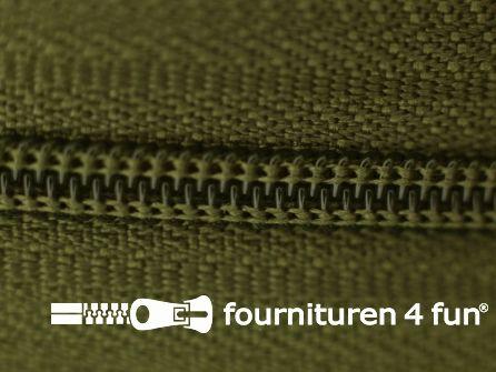 Niet deelbare nylon rits 3mm legergroen