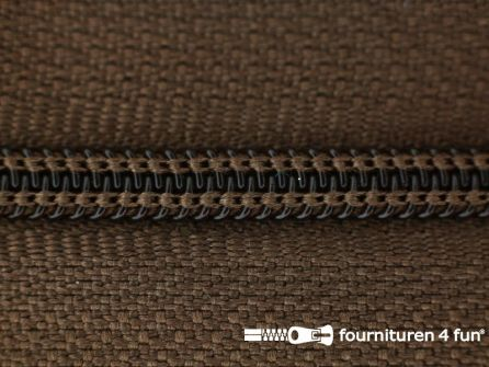 Niet deelbare nylon rits 3mm licht bruin