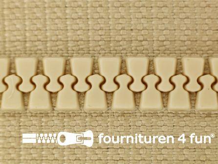 Niet deelbare bloktand rits 6mm licht beige