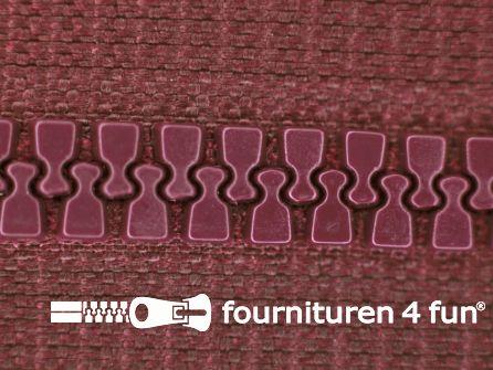 Niet deelbare bloktand rits 6mm donker bordeaux