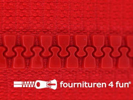 Niet deelbare bloktand rits 6mm rood