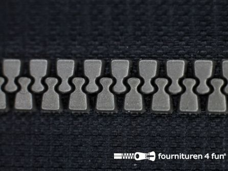 Niet deelbare bloktand rits 6mm zwart - zilver tandjes