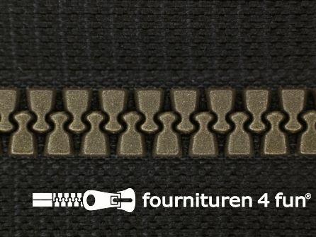 Niet deelbare bloktand rits 6mm zwart - brons tandjes