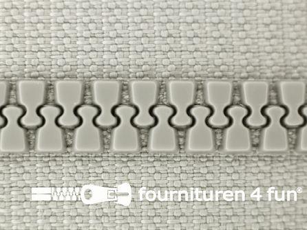 Deelbare bloktand rits 6mm met 2 schuivers licht grijs
