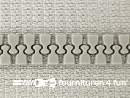 Niet deelbare bloktand rits 6mm licht grijs