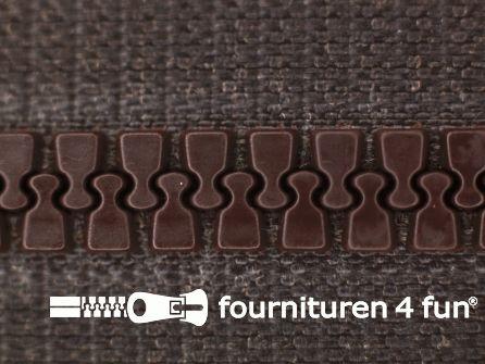 Deelbare bloktand rits 6mm met 2 schuivers donker bruin