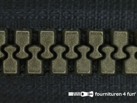 Deelbare bloktand rits 8mm zwart - brons tandjes