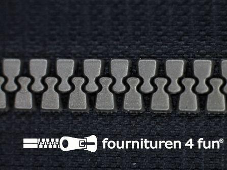 Deelbare bloktand rits 6mm zwart - zilver tandjes