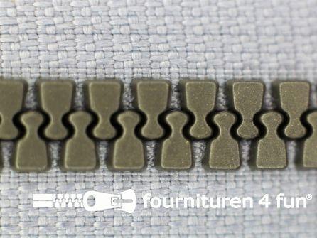 Deelbare bloktand rits 6mm licht grijs - zilver tandjes