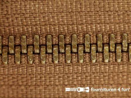Deelbare bronzen rits 5mm cognac bruin