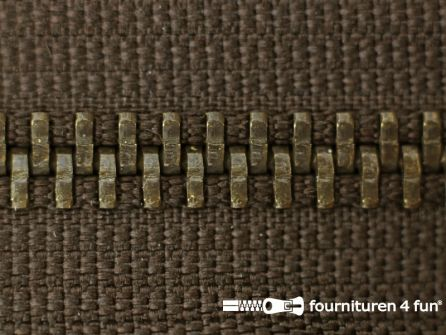 Deelbare bronzen rits 5mm donker bruin