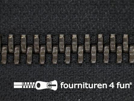 Deelbare bronzen rits 5mm zwart