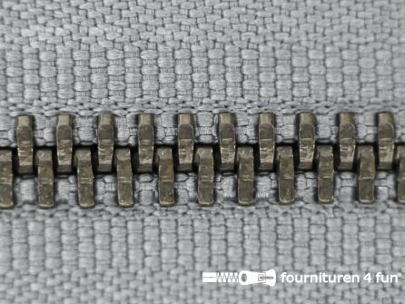 Deelbare bronzen rits 5mm grijs