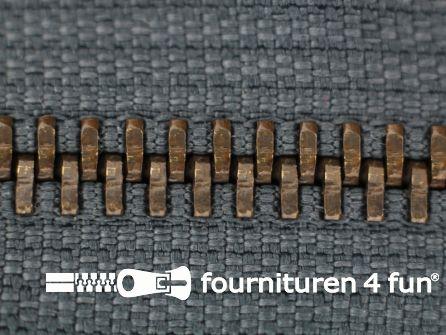 Deelbare bronzen rits 5mm staal grijs