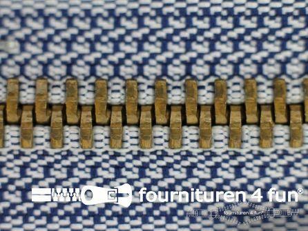 Deelbare bronzen rits 5mm blauw - wit