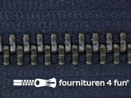 Deelbare bronzen rits 5mm marine blauw
