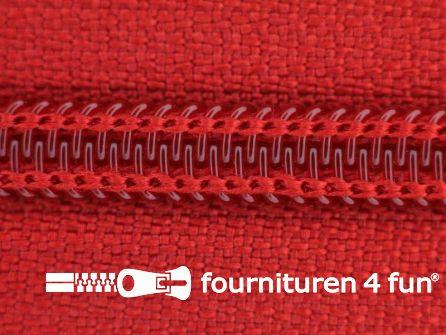 Deelbare spiraal rits 6mm met 2 schuivers rood