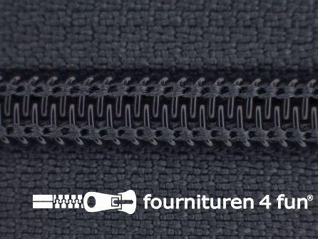 Deelbare spiraal rits 6mm met 2 schuivers donker grijs