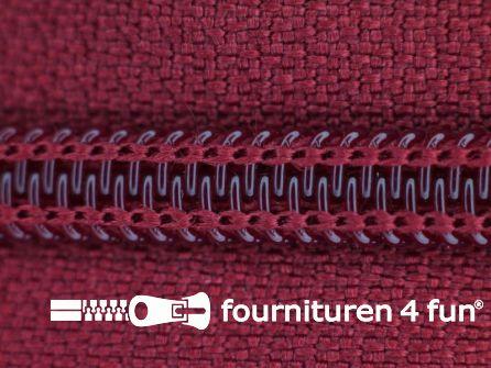 Deelbare spiraal rits 6mm met 2 schuivers wijn rood