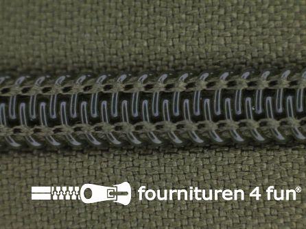 Deelbare spiraal rits 6mm met 2 schuivers leger groen
