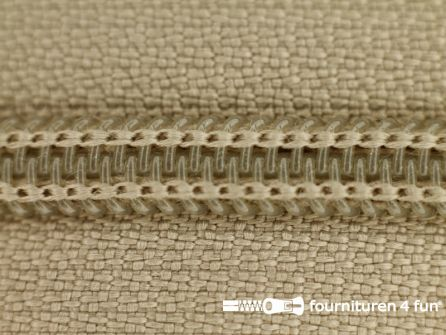 Deelbare spiraal rits nylon 6mm khaki beige